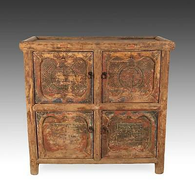 Rare Antique Chinese Qing Gansu Cabinet Painted Pine Double Happiness 18Th C.