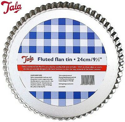 Tala Fluted Flan Tin With Loose Bottom 23Cm Cake Pastry Baking Kitchen Home New