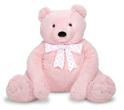 NEW Melissa & Doug Jumbo Pink Teddy Bear, Made in USA or Imported, Synthetic