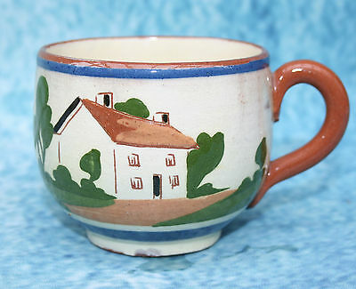 """Antique Cottage Devon Torquay Pottery Motto ware Teacup """"Have another cup full"""""""
