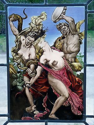 """LEADED GLASS WINDOW Image Painting Motif The Antique """" Amazons in Fighting """""""