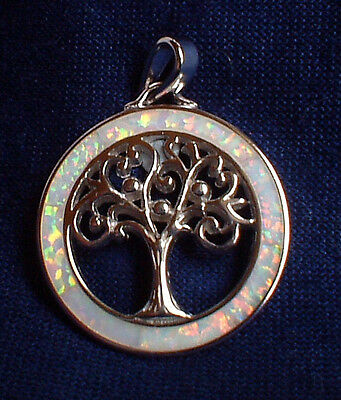 925 Silver Irridescent Rainbow Fire Opal Tree of Life Pendant~Reiki~Jewellery