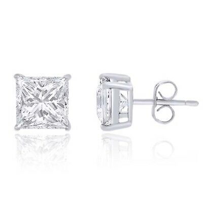 14K White Gold 1.00 Ct Princess Cut Stud Earrings with Screwback Pierced New