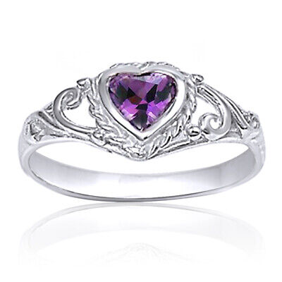 CZ Kids Heart Baby Amethyst Sterling Silver Ring Ladies size 1-5 New Purple