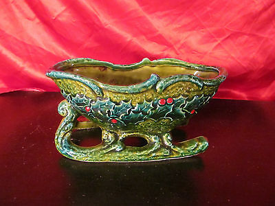 Vintage Ceramic Multi Colored Christmas Sleigh Very Colorfull