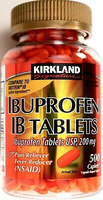 Kirkland Signature Ibuprofen IB Tablets 200mg NSAID Pain/Fever, 500 Caplets Each
