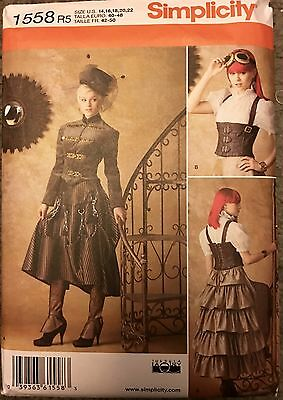 Simplicity Sewing Pattern 1558 Costume Steampunk Corset Skirt Spats Corset 14-22