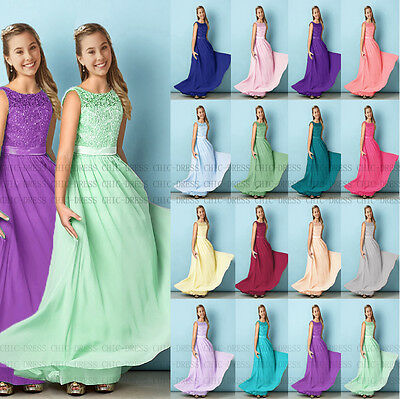 New Floor length lace Princess Junior Girl Dresses Bridesmaid Dress  4-14 years