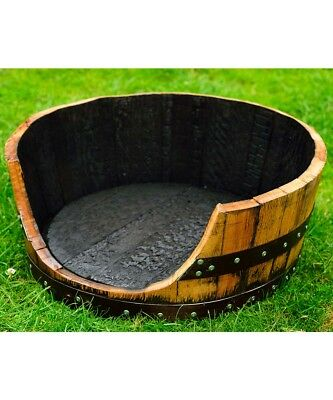 Extra Large Wooden Dog Bed Recycled Solid Oak 500L Whisky Barrel Vintage XL