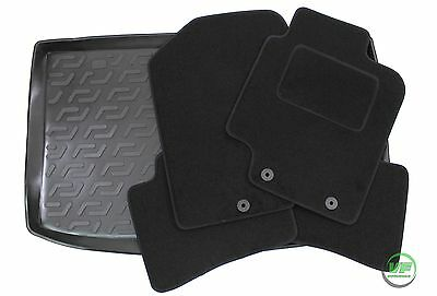 HYUNDAI i20 i 20 HATCHBACK 2008-14 Tailored black floor car mats + boot tray mat