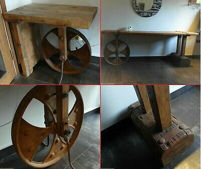 Industrial Salvage Cast Iron Cart Country French Farmhouse Bench Table Sideboard