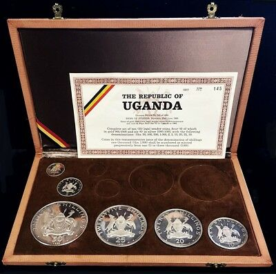 1969 Silver Uganda Pope Paul Vi Visit 6 Coin Proof Set In Box & Coa