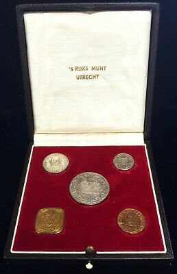 1962 S Silver Suriname Queen Juliana 5 Coin Proof Set W/original Box 650 Mintage