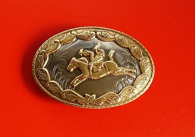 VTG German Silver Western Cowboy  Belt Buckle