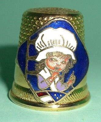 Brass & Enamel Franmar 74 Vernon Thimble Of Betsy Ross Sewing The Flag