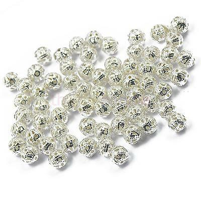 100pcs Silver Plated Metal Round SPACER BEADS Charms DIY Jewelry Making 6mm