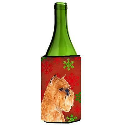 Brussels Griffon Red And Green Snowflakes Holiday Christmas Wine bottle sleev...