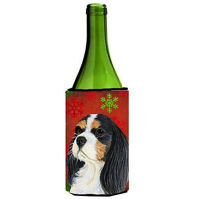 Cavalier Spaniel Snowflakes Holiday Christmas Wine bottle sleeve Hugger