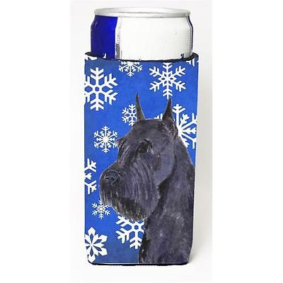 Schnauzer Winter Snowflakes Holiday Michelob Ultra bottle sleeves For Slim Ca...