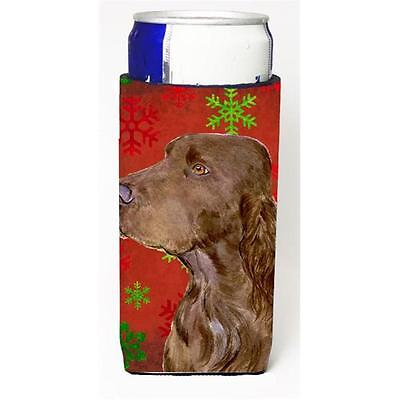 Field Spaniel Red And Green Snowflakes Holiday Christmas Michelob Ultra bottl...