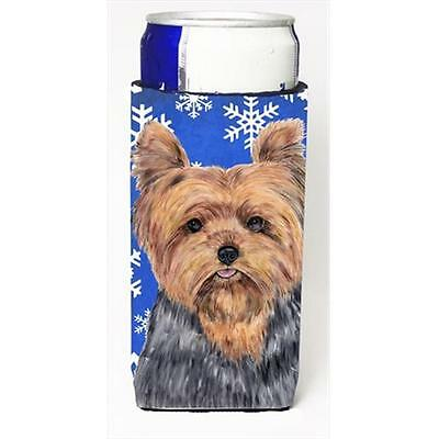 Yorkie Winter Snowflakes Holiday Michelob Ultra bottle sleeves For Slim Cans