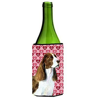 Springer Spaniel Hearts Love Valentines Day Wine bottle sleeve Hugger