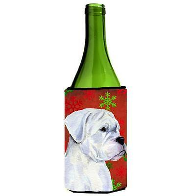 Boxer Red And Green Snowflakes Holiday Christmas Wine bottle sleeve Hugger 24...