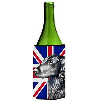 Flat Coated Retriever With English Union Jack British Flag Wine bottle sleeve...