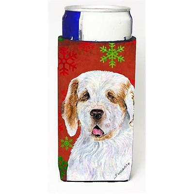 Clumber Spaniel Red And Green Snowflakes Holiday Christmas Michelob Ultra bot...