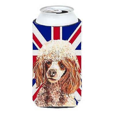 Red Miniature Poodle With English Union Jack British Flag Tall Boy bottle sle...