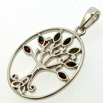 Red Fire Opal 925 Silver Triskel Tree of Life Pendant~Reiki~New Pagan Jewellery