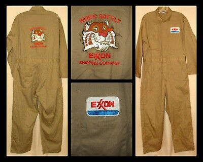 "EXXON Shipping Company Work Safely Khaki Coveralls Sz 40R USA 36"" W 19"" S 28""L"