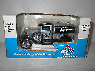 "Amoco Silver 1929 Ford Model ""A"" Tanker Bank - 1992 Diecast Bank - New"