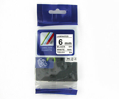 Compatible Black on White Label Tape 1/4'' TZe211 6mm for Brother P-touch