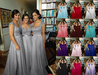 Long Bridesmaid Dress Party Ball Prom Evening Formal Gown Size 6-18