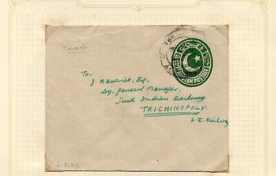PAKISTAN; 1949 early  COVER/LETTER Postal Stationary. Karachi - Trichinopoly