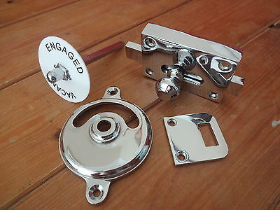 Chrome Vacant Engaged Toilet Bathroom Lock Bolt Indicator Door Knobs Handles