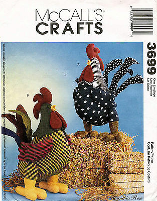 """McCall's Rooster Dolls Pattern 3699 Size 11"""" x 14"""""""