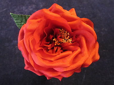 """Vintage Millinery Flower Rose 4"""" Red pure Silk for Hat Wedding or Hair KL8"""