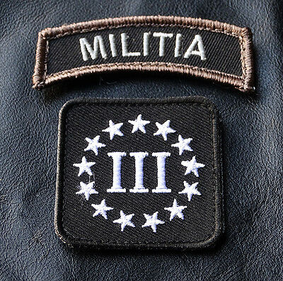 Militia Rocker Tab Three 3% Percenter 2Pc  Tactical Morale Hook Patch