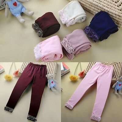 2-7Y Baby Kids Girl Cotton Stretch Warm Floral Pants Leggings Toddler Trousers