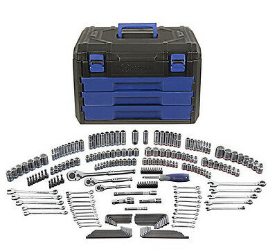 NEW Kobalt 227-Piece SAE Metric Mechanic's Tool Set + Hard Case! Socket Storage