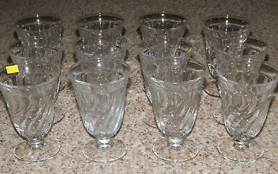 """12 Fostoria COLONY CRYSTAL 5 1/2"""" FOOTED ICED TEA TUMBLERS GOBLETS"""