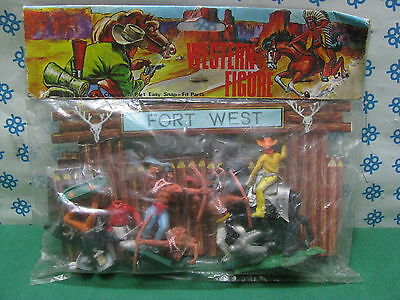 Vintage  - 6 Western figure   indiani e cowboy componibili tipo Timpo  n°1