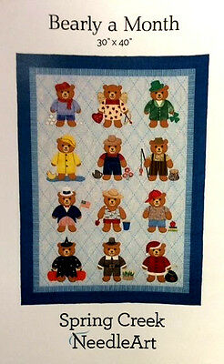 BEARLY A MONTH wall hanging/baby/crib quilt pattern-Spring Creek Needleart-30x34