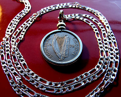 """Rare Handsome 1928 Irish Lucky Sixpence Pendant on a 30"""" 925 Silver Chain"""