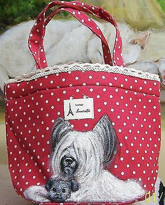 Skye Terrier hand painted original art real brush painting cooling lunch bag