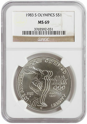 1983-S Disc Thrower $1 UNC Silver Commemorative Coin MS69 NGC