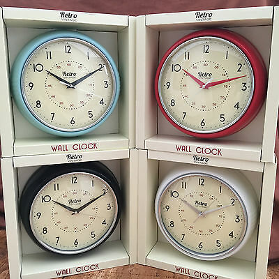 NEW Retro Vintage Diner Round Wall Clock Office Kitchen Red Black White Blue