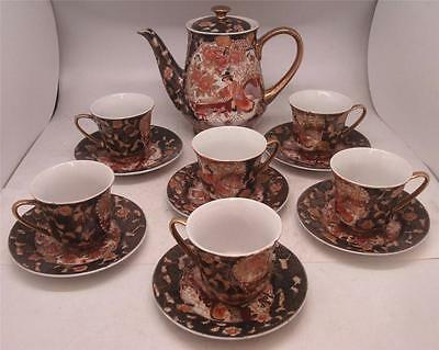Japanese Satsuma ware Pottery Tea Service Set - Teapot with 6 Cups & Saucers